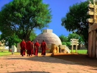 Monks Visiting the Buddhist Stupas at Sanchi